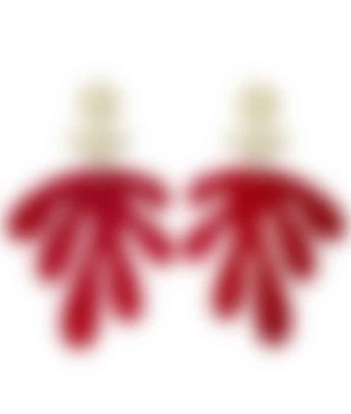 Orella Jewelry Les Fleurs Earrings - Translucent Red