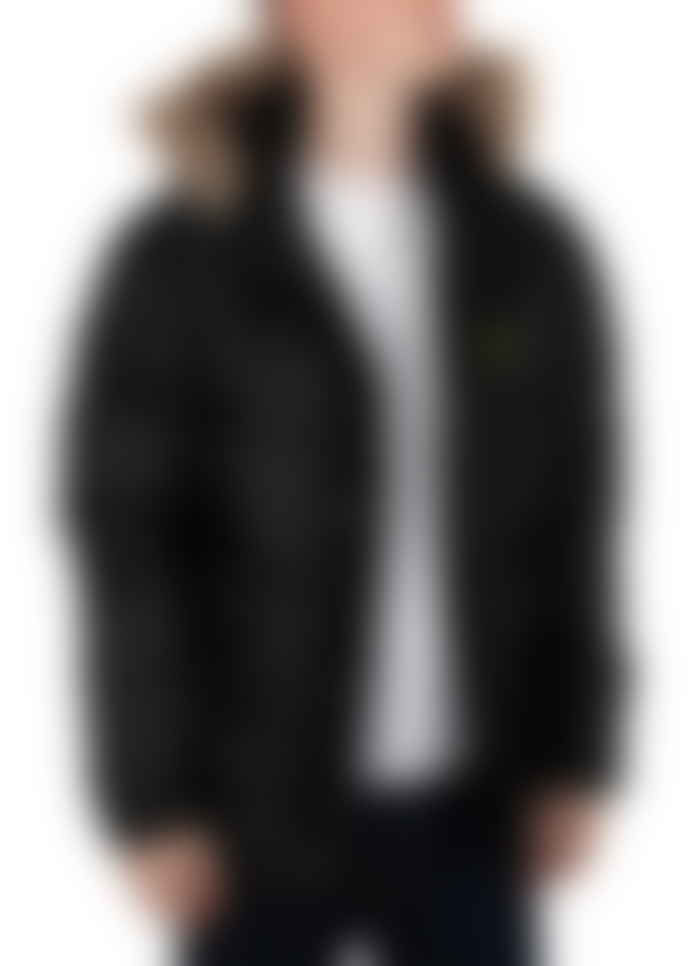 Lyle and Scott True Black Polyester Wadded Hooded Bomber Jacket