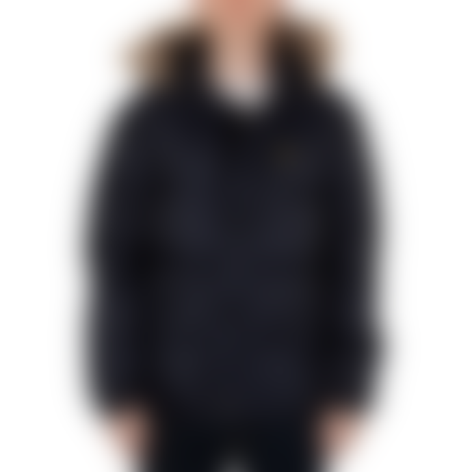 Lyle and Scott Dark Navy Polyester Wadded Hooded Bomber Jacket