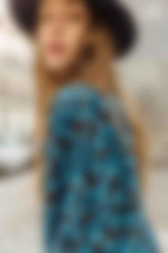 Magnolya Sabine Blue Flowers Midi Dress