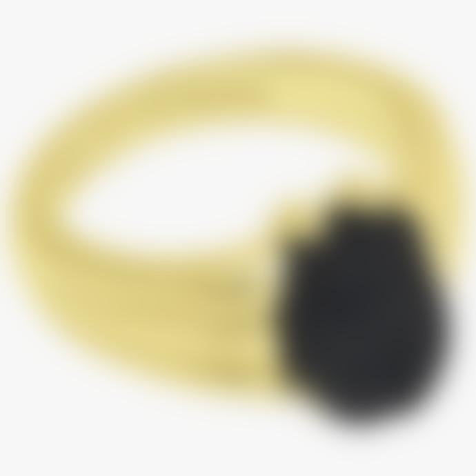 Wild Things 15.3mm Gold Resin Black Scarab Pinky Ring