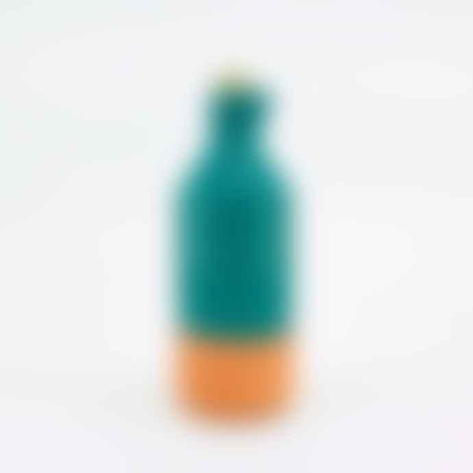 casa atlantica Green Glazed Clay Bottle with Cork Stopper