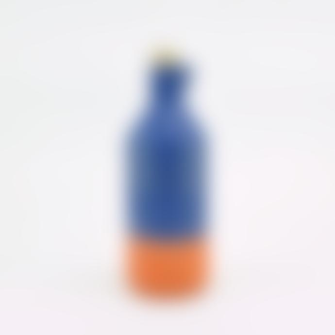 casa atlantica Blue Glazed Clay Bottle with Cork Stopper