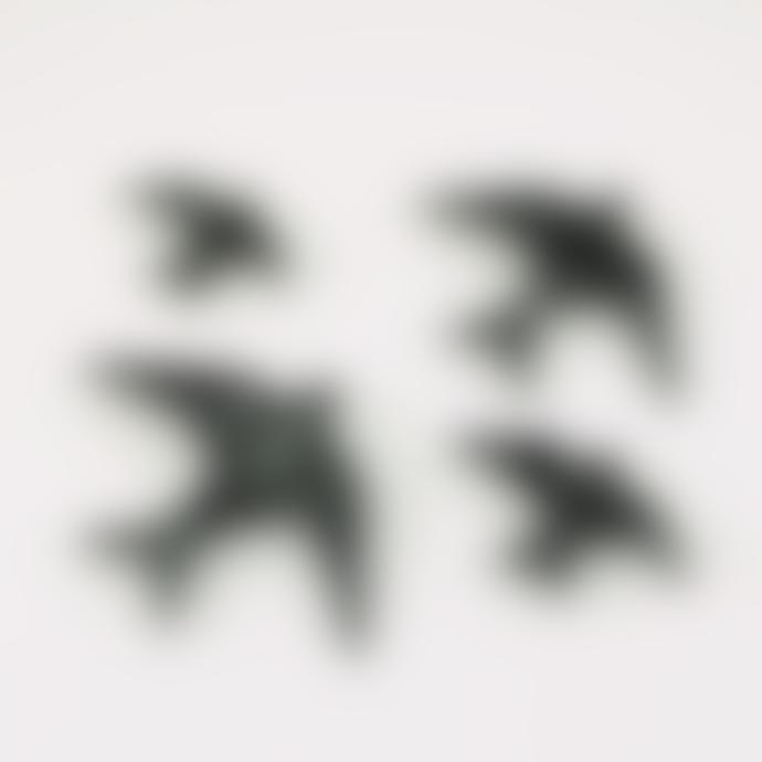 casa atlantica Set of 4 Black Ceramic Glazed Swallows