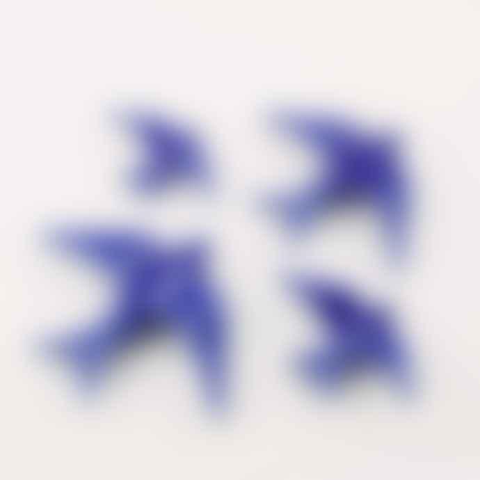 casa atlantica Set of 4 Cobalt Blue Ceramic Glazed Swallows