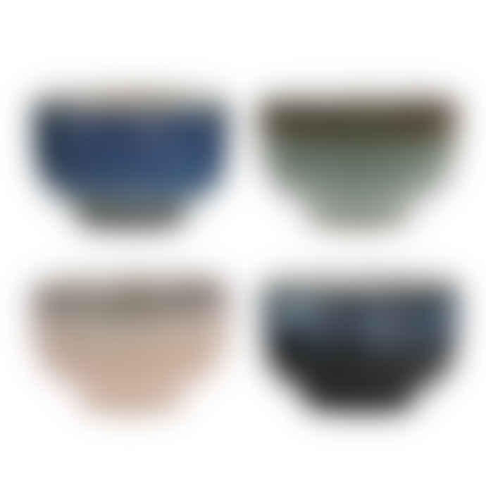HK Living ceramic 70's bowls set of 4
