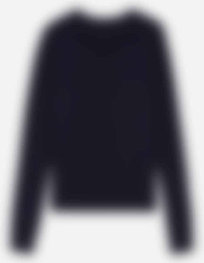 Maison Kitsune Virgin Wool V Neck Cardigan Navy