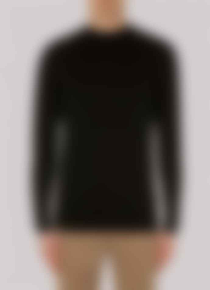 Sunspel Fine Merino Wool Mock Neck Jumper Black