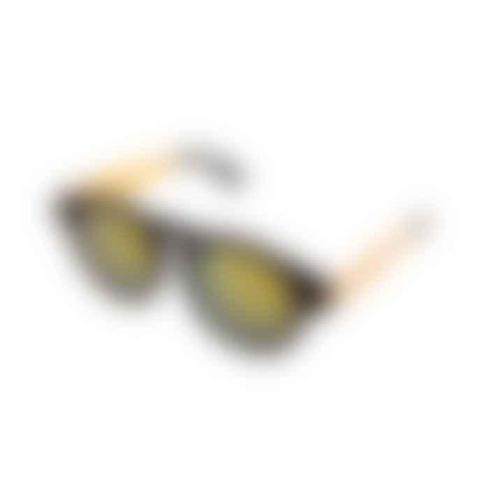 Komono Black Gold Metal Clement Sunglasses