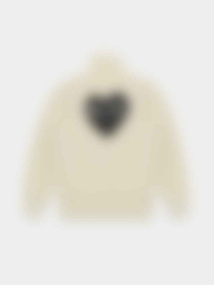 Comme Des Garcons Play Ivory PLAY Zip Up Sweatshirt With Black Heart