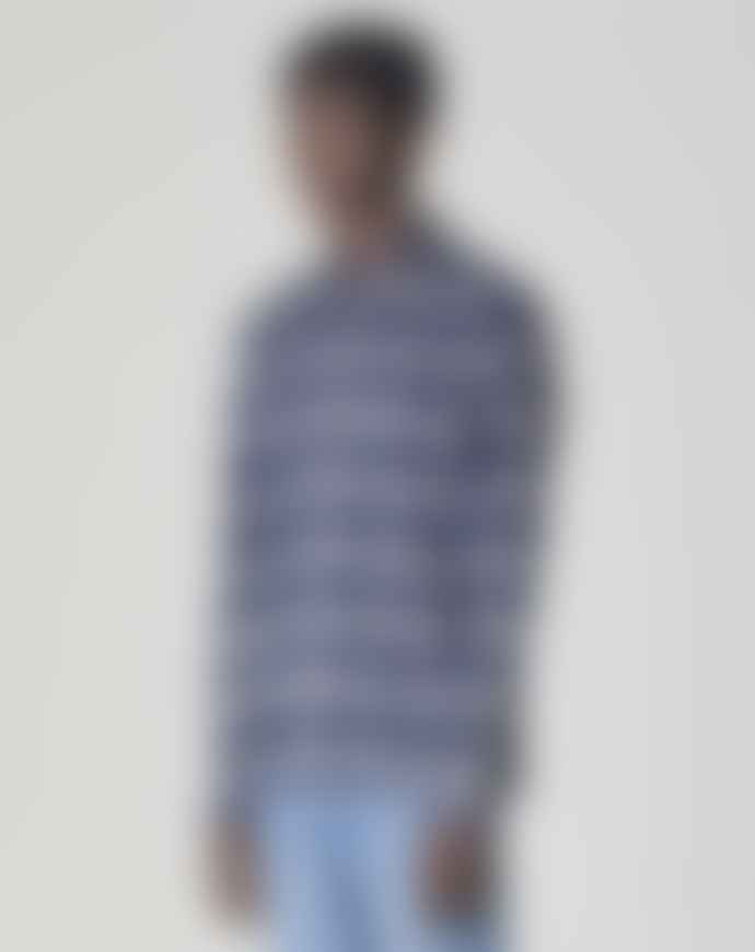 Bellfield Vallegrande Long Sleeved Flannel Shirt Navy