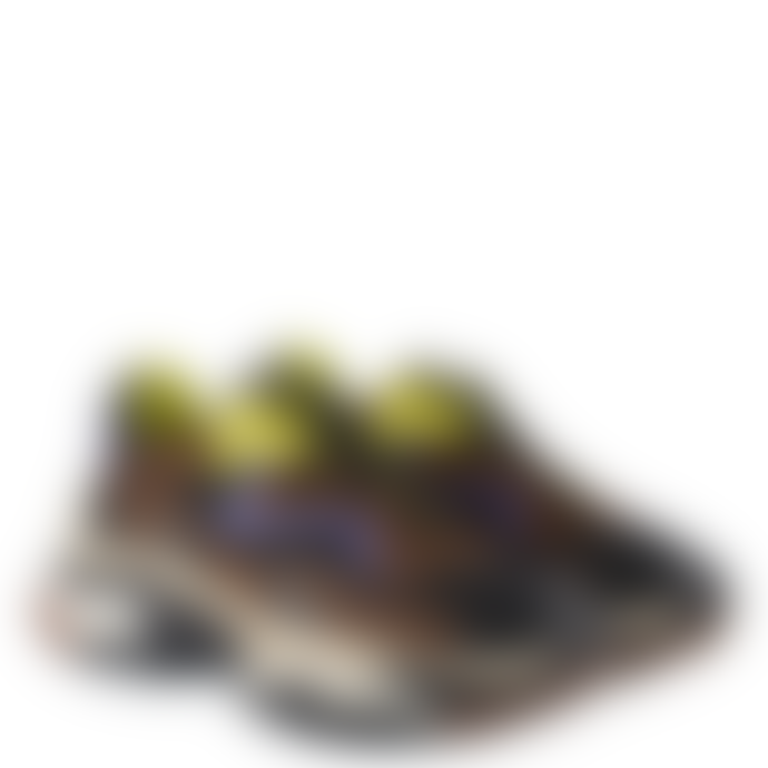 Ash Leopard Print Pony Hair and Black Mesh Addict Trainer Shoe