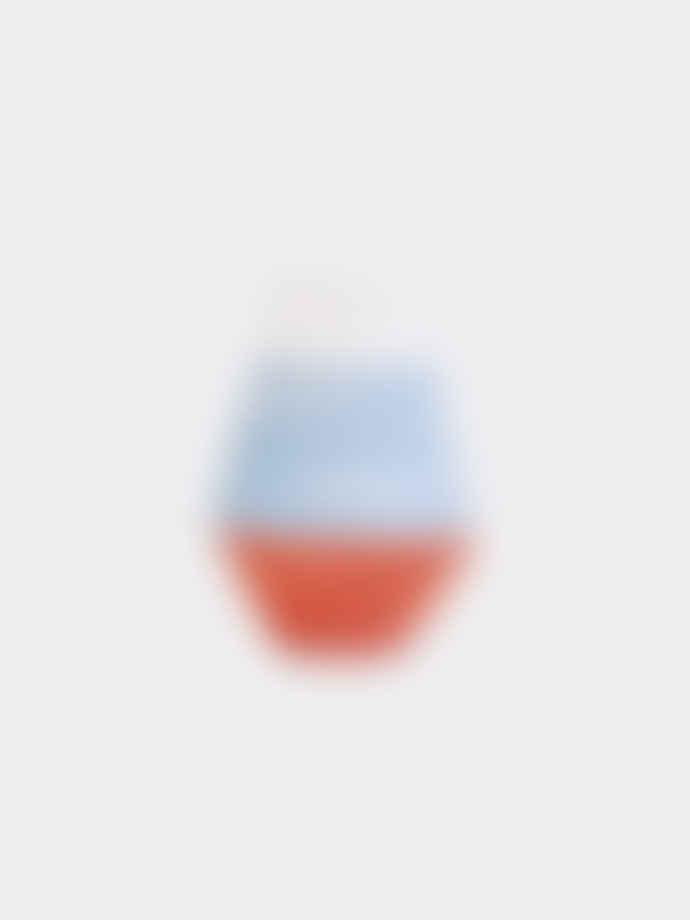 Pura Cal Small Terracota Red & Blue Stripes Vase