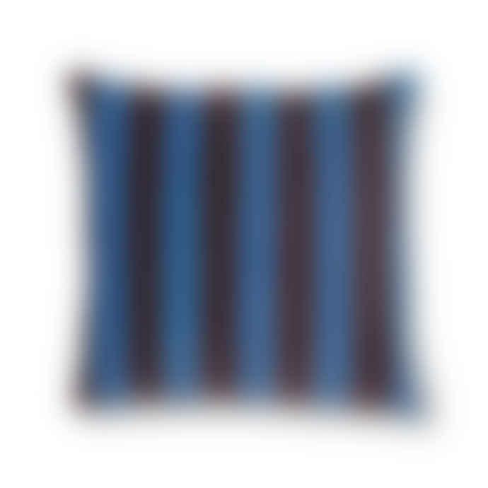 Mink Interiors Velvet Cushion - Blue + Purple Stripes (with luxury feather inner)
