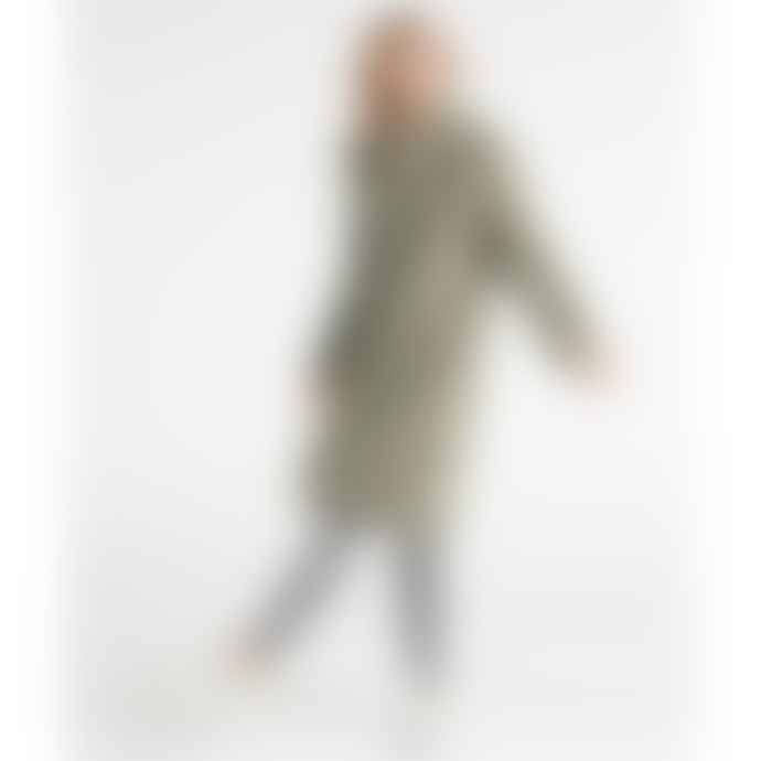 Yaya Long Teddy Coat - Utility Green