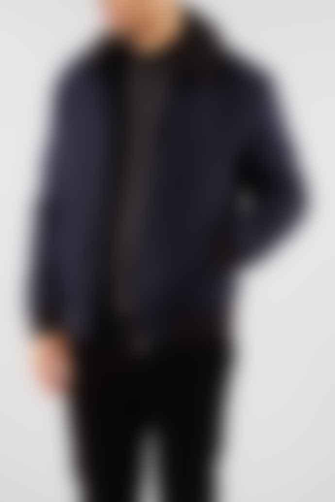 Selected Homme Navy Wool Huni Bomber Jacket