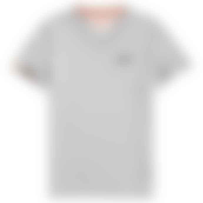 Superdry Orange Label Vintage Embroidery V Neck T Shirt Grey Marl