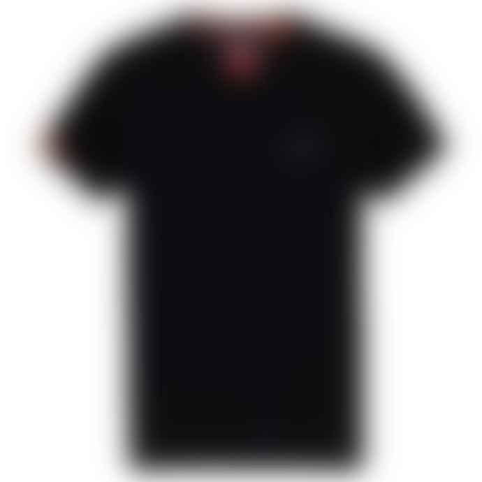 Superdry Orange Label Vintage Embroidery V Neck T Shirt Black