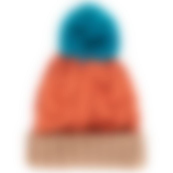 Powder Design Tangerine Mix Acrylic Karina Hat with Faux Fur Pompom