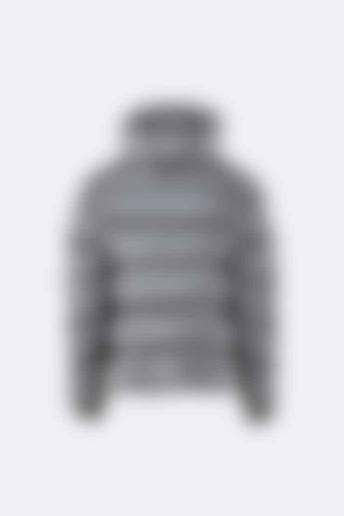Rains Metallic Charcoal Polyester Puffer Jacket