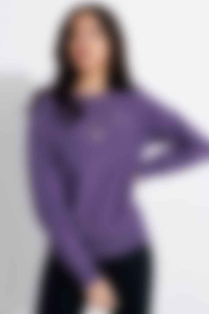 Champion Small Script Logo Crewneck Sweatshirt Purple