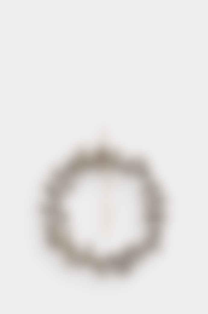 Shishi Glitter Silver Mini Cone Wreath W Grey Ribbon 25 Cm