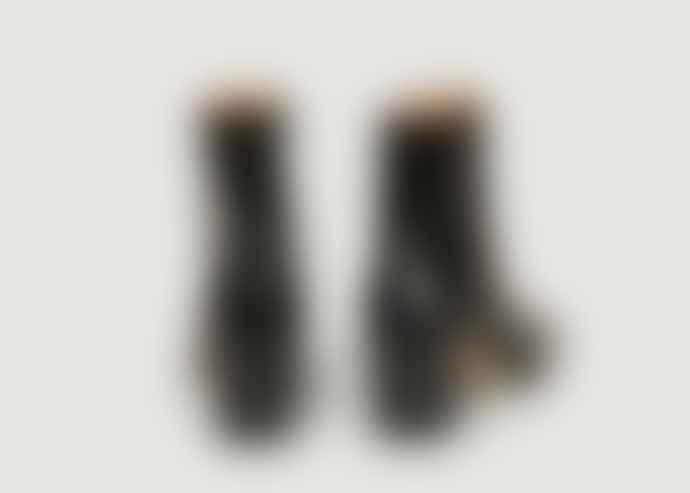 Petite Mendigote Naplac Black Leather Claudette Patent Ankle Boots