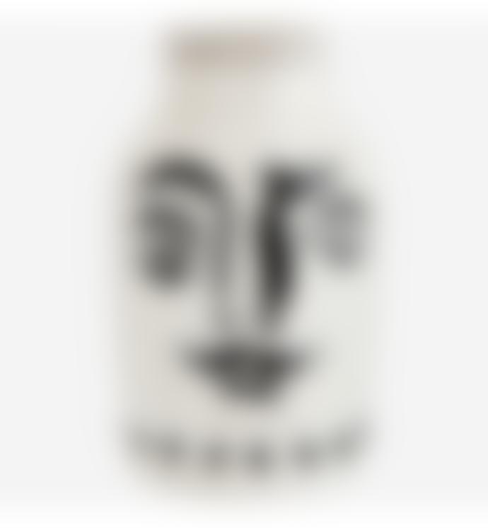 Madam Stoltz White and Black Stoneware Vase With Face Imprint