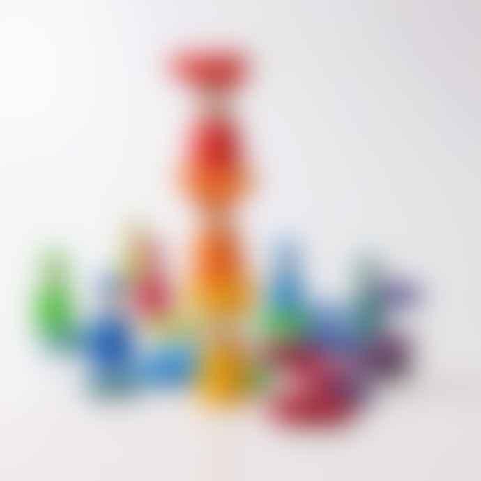 Grimms Set of 24 Wood Rainbow Rings