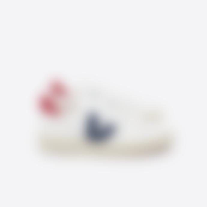 Veja Extra White and Nautico Pekin Leather V10 Sneakers