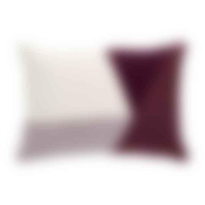 Hubsch 33x50cm White and Purple Cotton Cushion