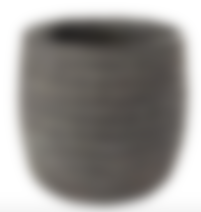 AU Maison Ceramic Pot With Grooves Earth Small