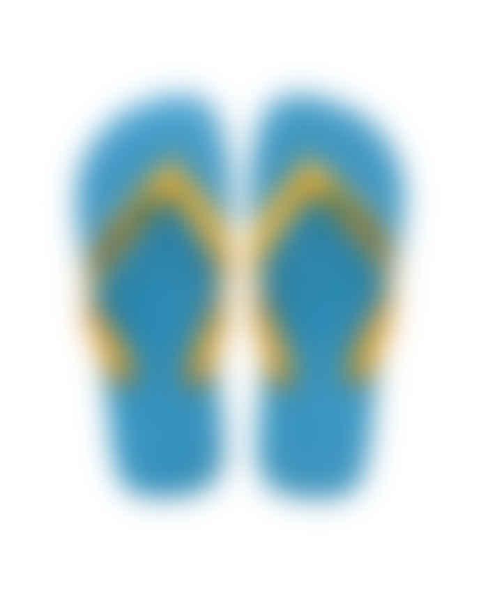 Havaianas Turquoise/Yellow Brasil Logo Flip-Flops