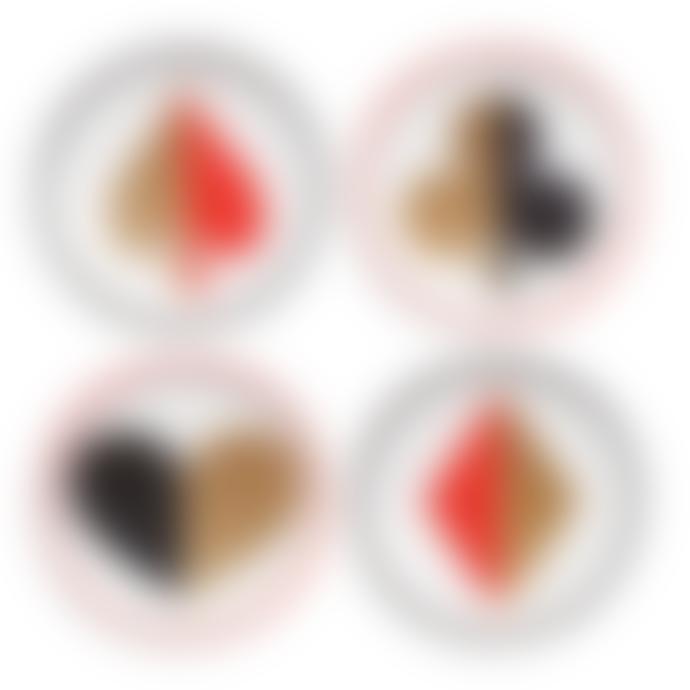Jonathan Adler Multicolored Glazed Porcelain Full Deck Set of 4 Coaster