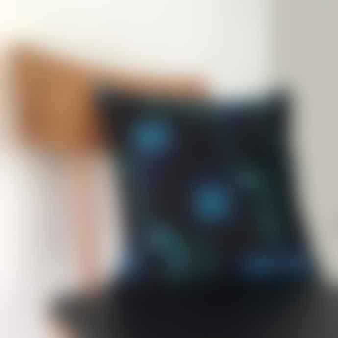 Marie Murphy Studio Green and Navy Patterned Velvet Cushion