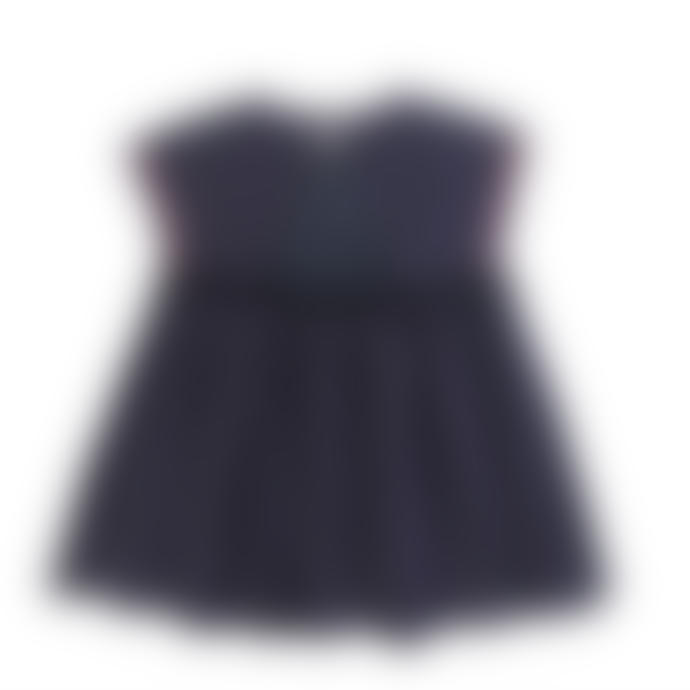 Louise Misha Dark Zinc Cotton and Linen Pompon Dress
