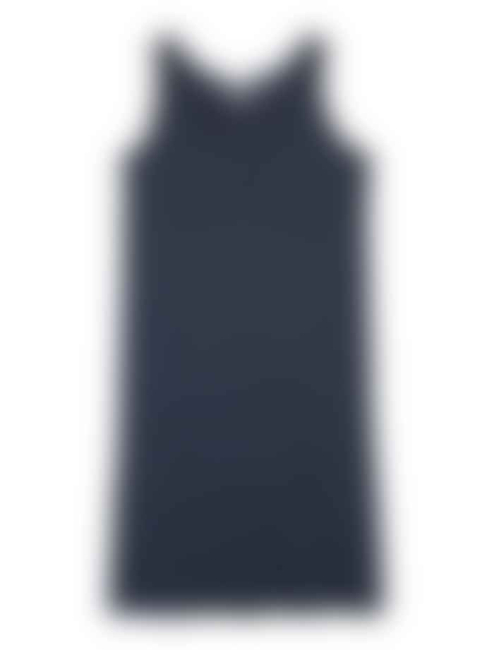 Le Petit Germain Indigo Linen Striped Sien Dress