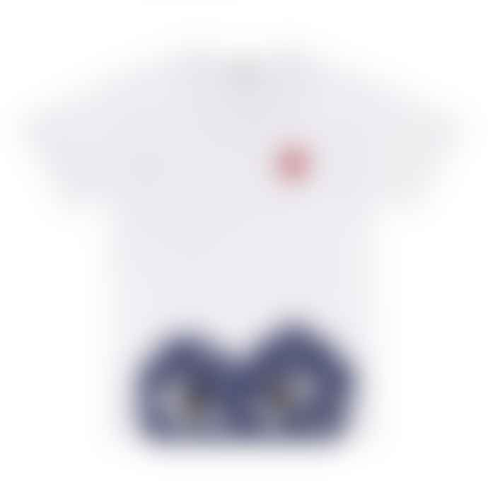 Comme Des Garcons Play T-Shirt with Polka Dot Bottom Heart (White) P1T236