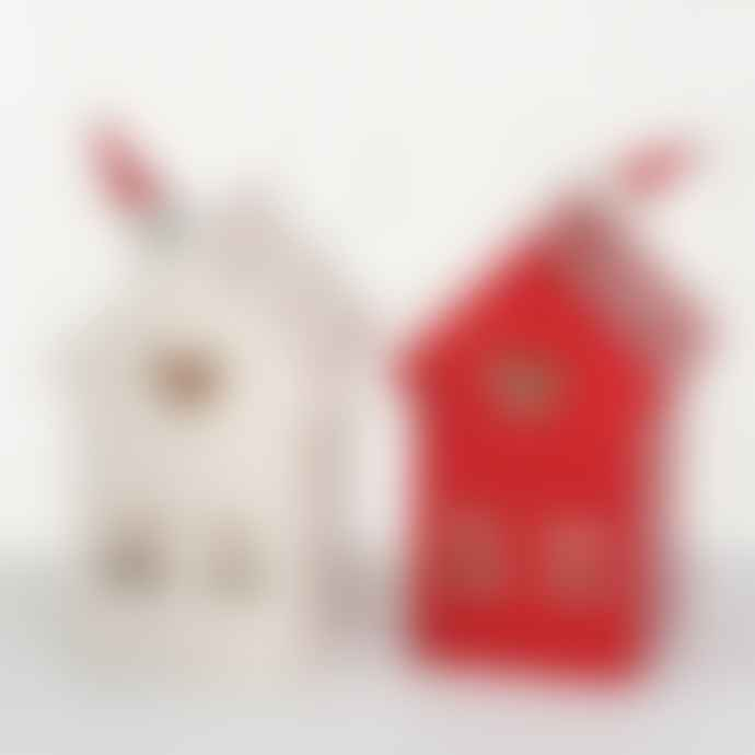 Boltze 13cm White or Red Lola Windlight House with Hearts