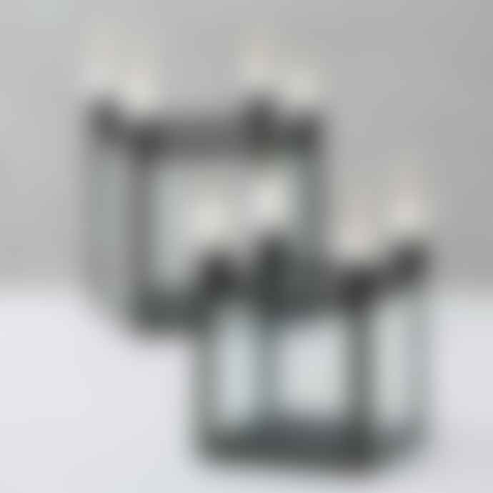 Boltze Small Black Metal and Glass 4 Candlestick Holder
