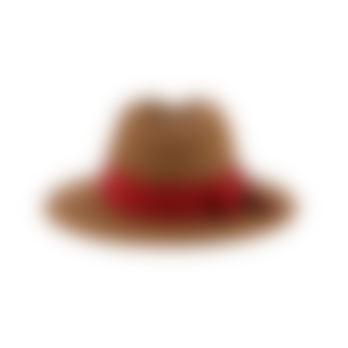 Pomandere Tan Fedora Hat With Red Ribbon