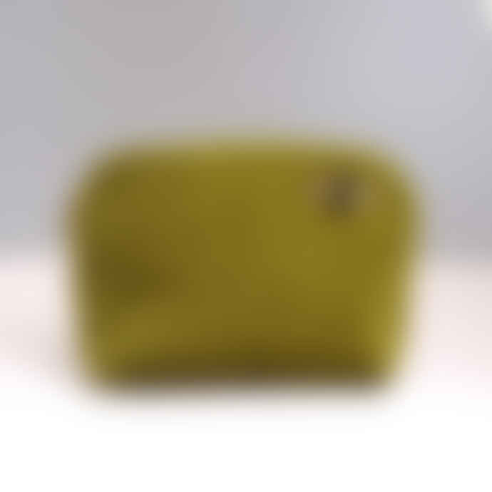 SIXTON LONDON Large Chartreuse Velvet Make Up Bag