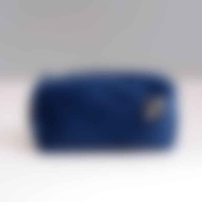 SIXTON LONDON Electric Blue Velvet Make Up Bag