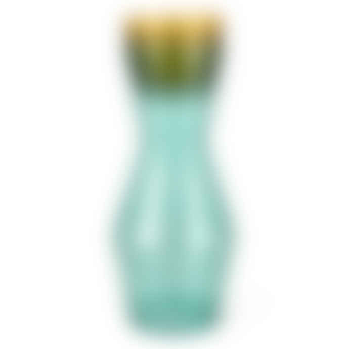 Spring Copenhagen Double Up Mouthblown Glass Carafe 1 L In Turquoise Colour Complete with 2 Turquoise Glasses