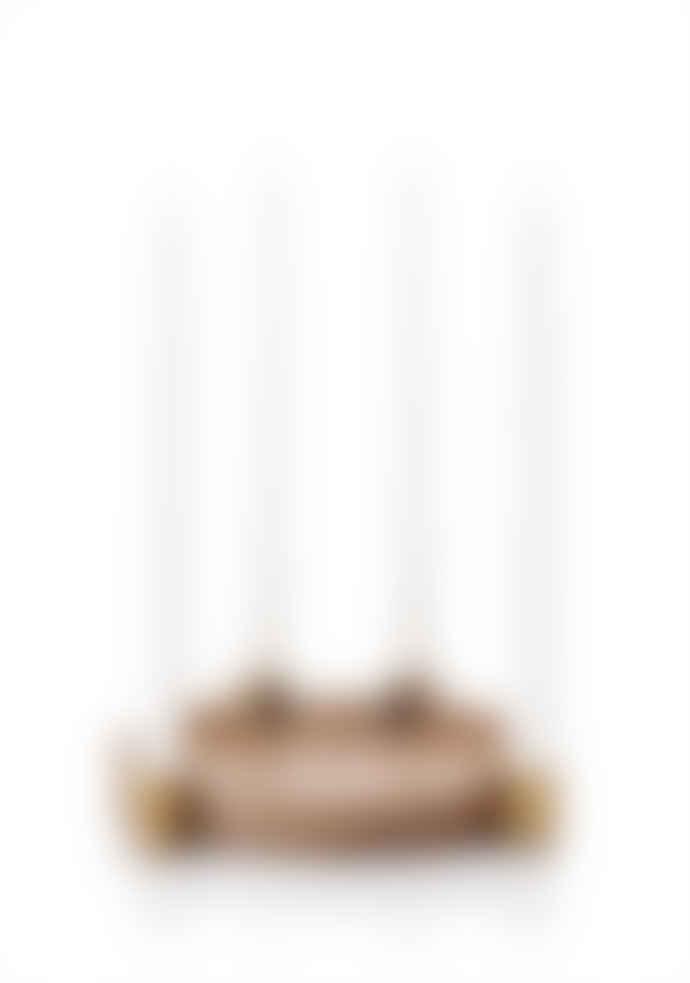 Applicata 27cm Oak Brass Luna Candle Holder
