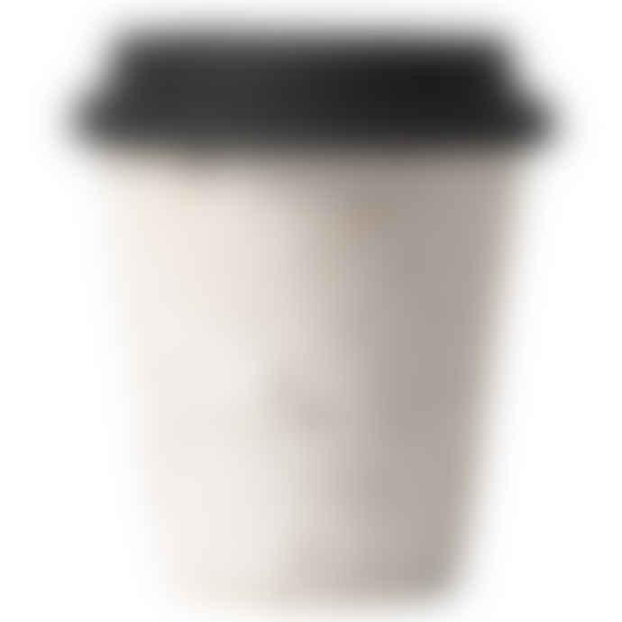 Erika Petersdotter Ceramic Take Away Cup White Lava Black Lid