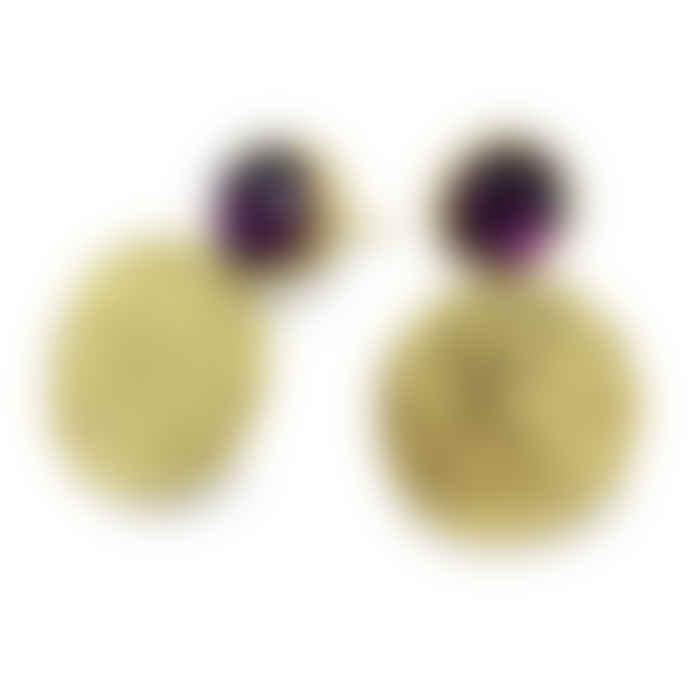 Joanne Bowles Encrusted Disk and Pink Garnet Studs in Gold Vermeil