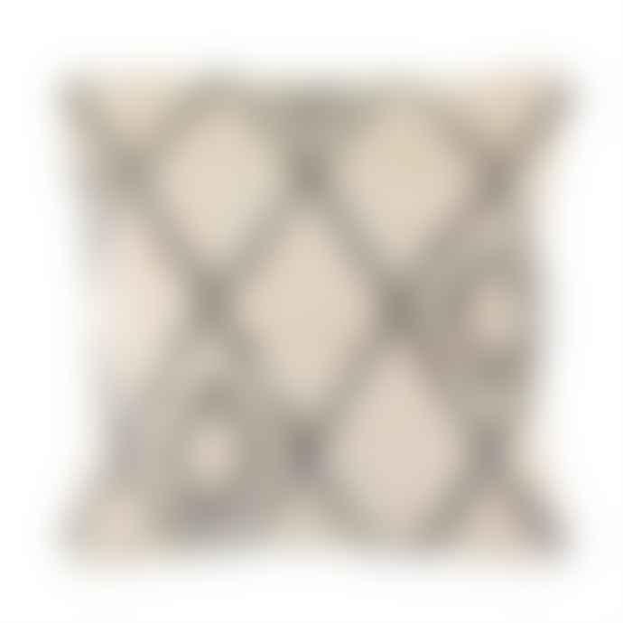 Sass & Belle  Cream and Black Woven Diamond Cushion