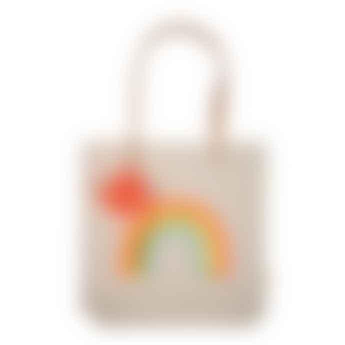 Meri Meri Canvas Rainbow Tote Bag with Leather Handle