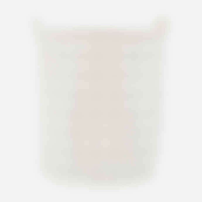 House Doctor White Cotton Checked Pattern Laundry Basket